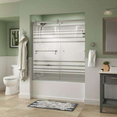 Portman 60 in. x 58-3/4 in. Semi-Frameless Contemporary Sliding Bathtub Door in Nickel with Transition Glass