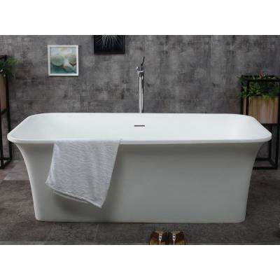 AB9942 67 in. Resin Flatbottom Bathtub in Matte White