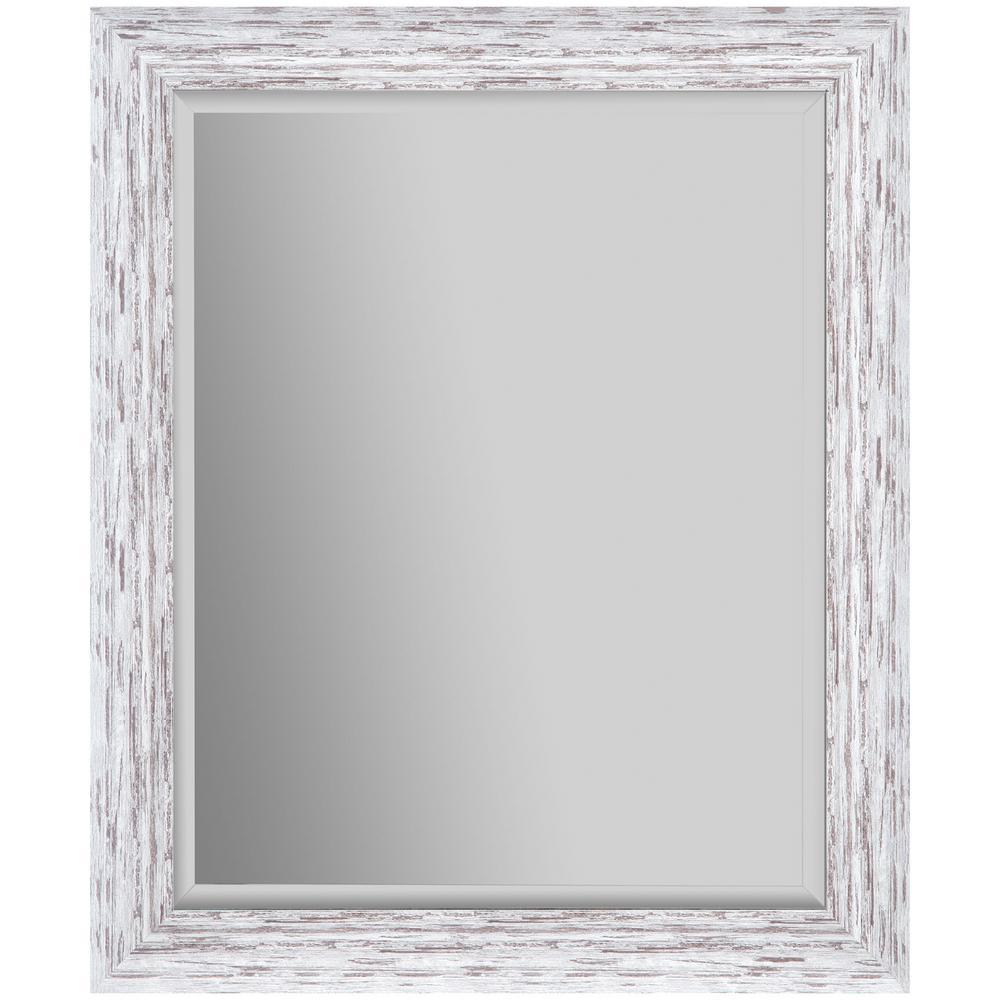 24 in. x 30 in. Scoop Framed Beveled Rectangular White Decorative Mirror