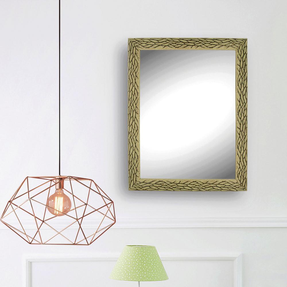 Ornate Oak Look Wall Mirror