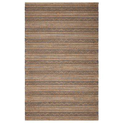 Vintage Natural Fiber Vintage Indigo 9 ft. x 12 ft. Chevron Striped Indoor Area Rug