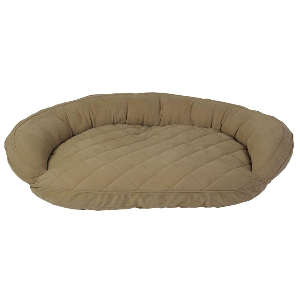 Carolina Pet Company Large Sage Microfiber Quilted Bolster Bed with Moister Protection The ultimate in comfort and luxury for your pet. The Microfiber Quilted Bolster Bed features a plush diamond-quilted fabric. The high loft recycled polyester fill keeps your furry friend healthy and happy by relieving pressure on hips and joints.