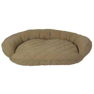 Large Sage Microfiber Quilted Bolster Bed with Moister Protection