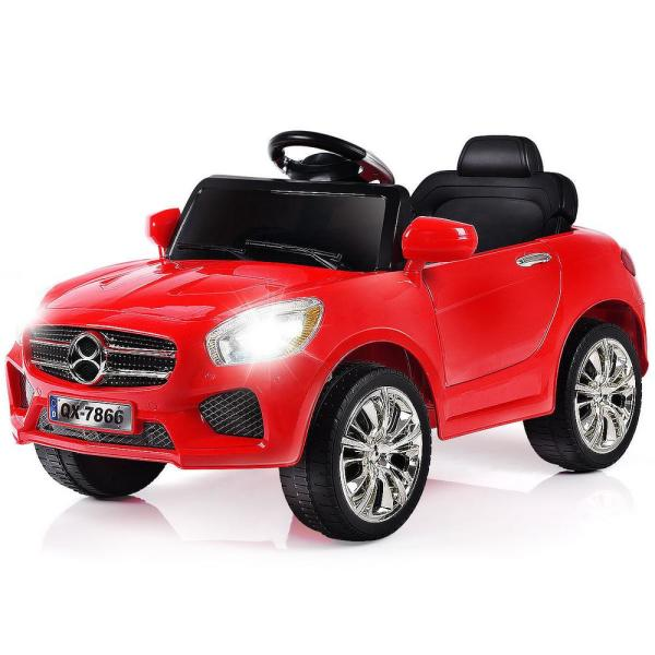 6-Volt Red Kids Ride On Car RC Remote Control Battery Powered with LED Lights MP3