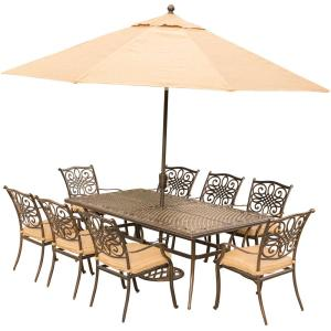 Hanover Traditions 9-Piece Outdoor Dining Set with Rectangular Cast-Top Table... by Hanover