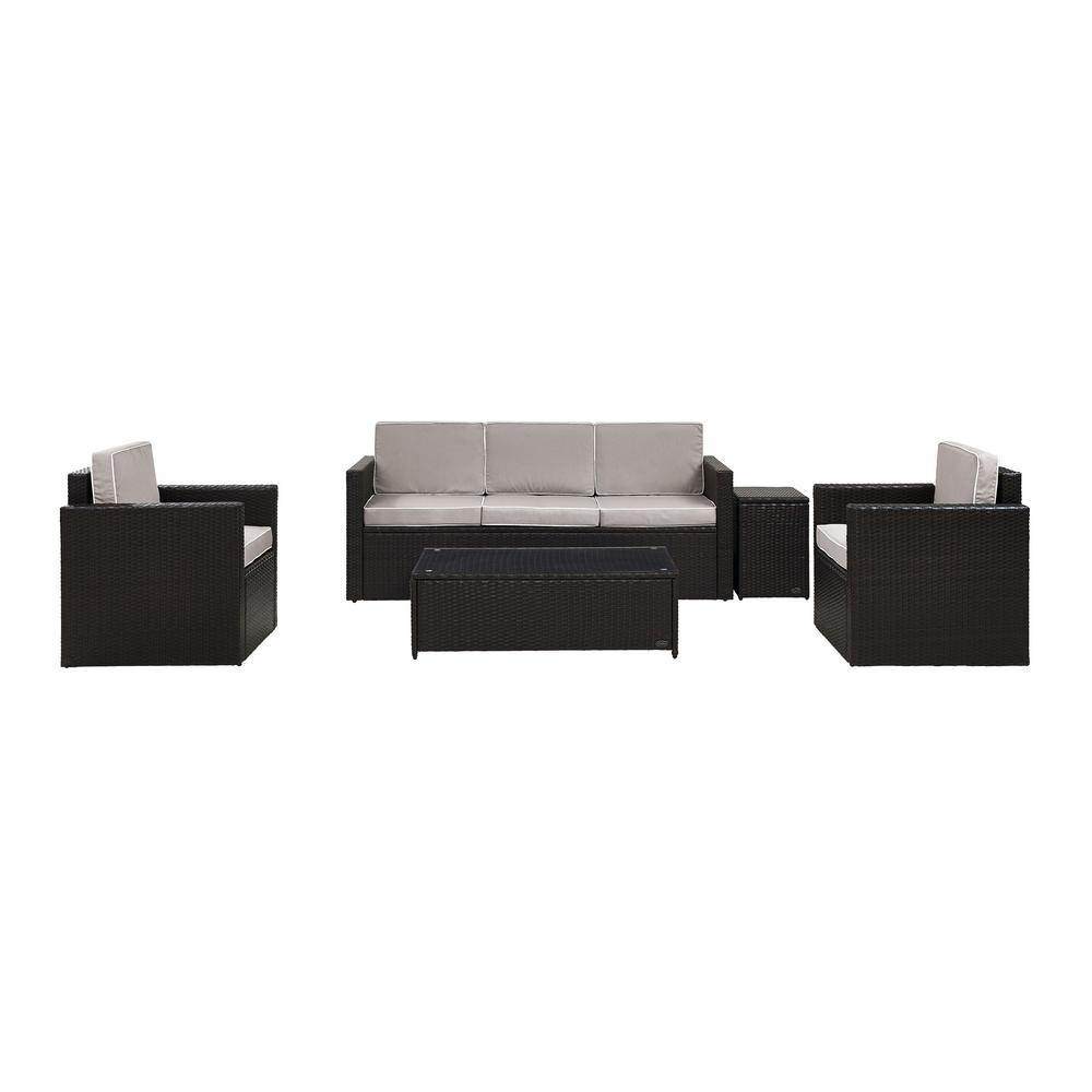 Crosley Palm Harbor 5-Piece Wicker Outdoor Conversation Set with Grey Cushions