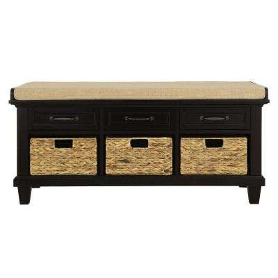 Martin Black 3 Basket Shoe Storage Bench