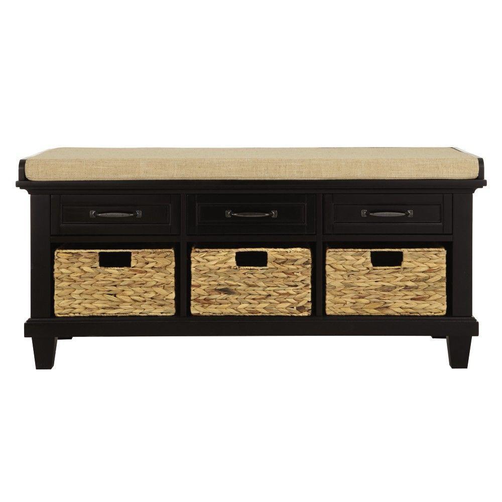 77a44fdd9d Home Decorators Collection Martin Black 3 Basket Shoe Storage Bench ...