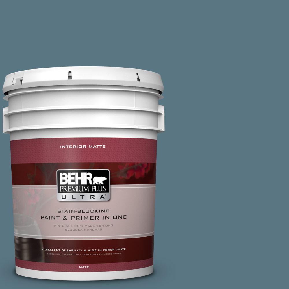 BEHR Premium Plus Ultra 5 gal. #MQ5-26 Hampton Surf Matte Interior Paint and Primer in One