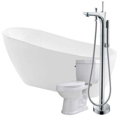 Trend 67 in. Acrylic Flatbottom Non-Whirlpool Bathtub in White with Kase Faucet and Talos 1.6 GPF Toilet