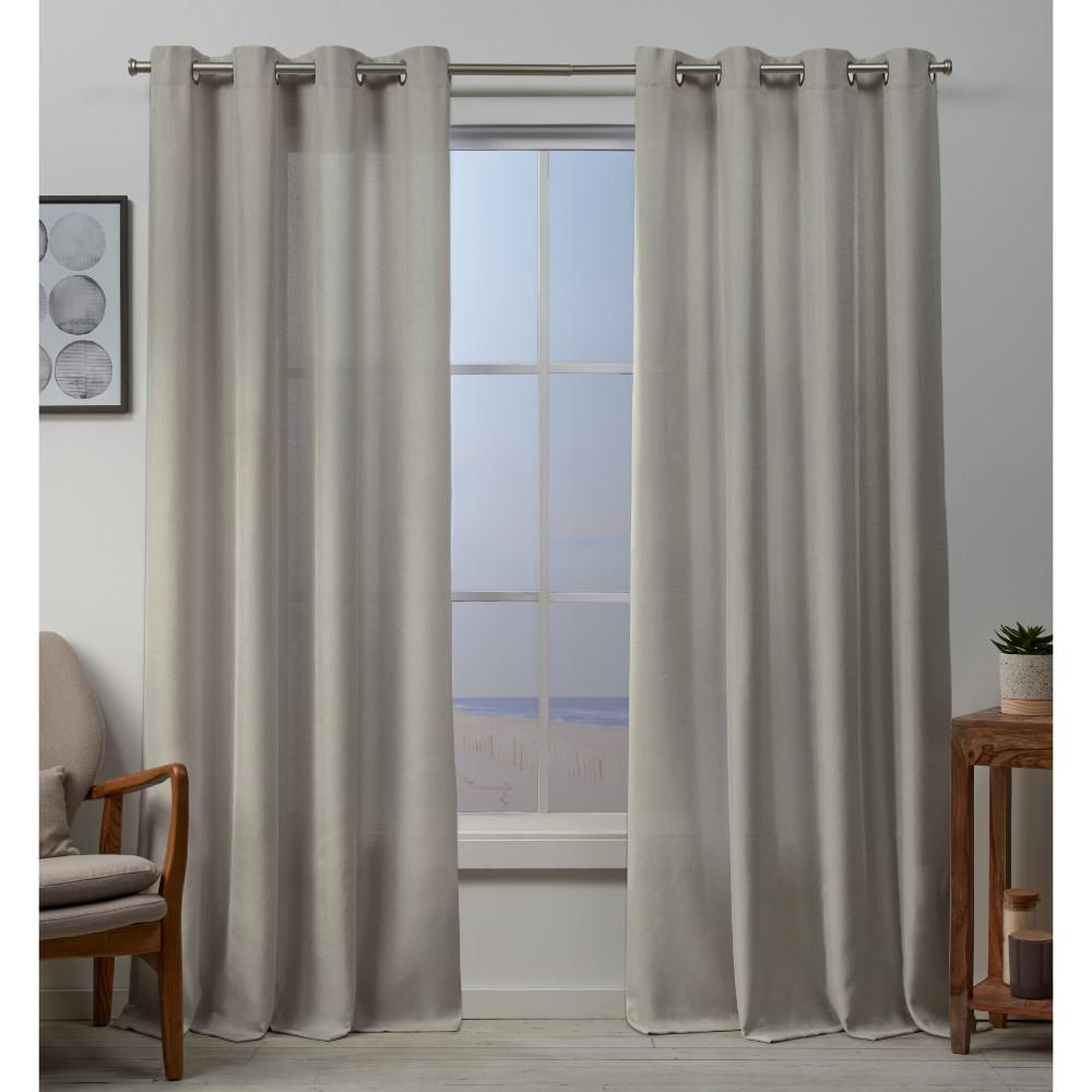 Exclusive Home Curtains Baxter 54 In W X 96 L Textured Grommet Top Curtain Panel Linen 2 Panels