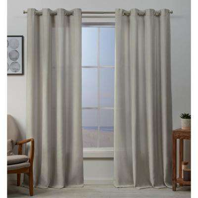 Baxter 54 in. W x 96 in. L Textured Grommet Top Curtain Panel in Linen (2 Panels)