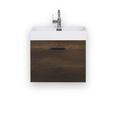 23.6 in. W x 18.1 in. H Bath Vanity in Brown with Resin Vanity Top in White with White Basin