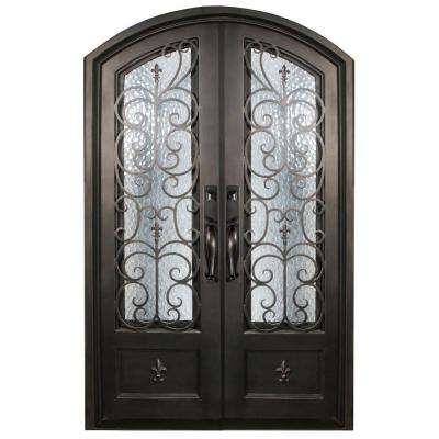 74 in. x 97.5 in. Orleans Classic 3/4-Lite Painted Oil Rubbed Bronze Wrought Iron Prehung Front Door