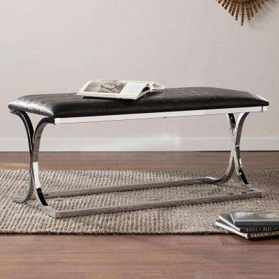 Trishelle Black and Chrome Faux Reptile Skin Bench