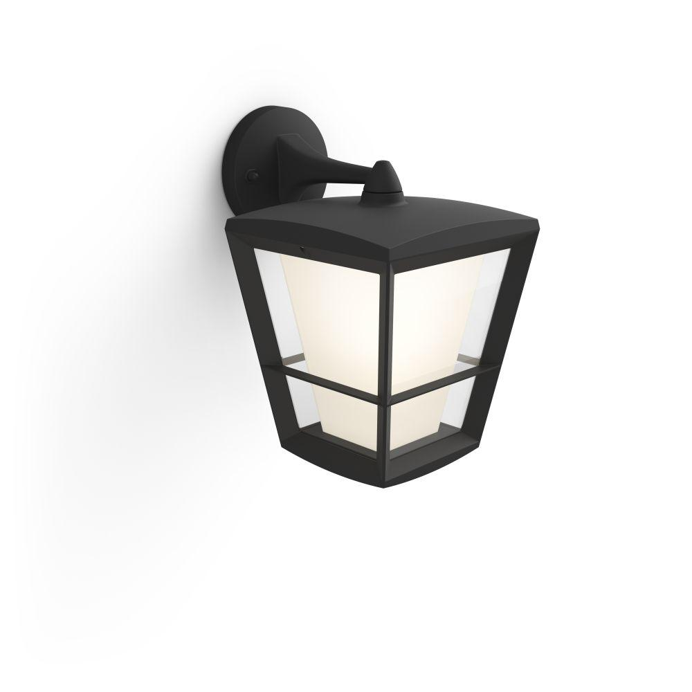 White and Color Ambiance Econic Medium Black Outdoor Wall Down Lantern with  Integrated LED