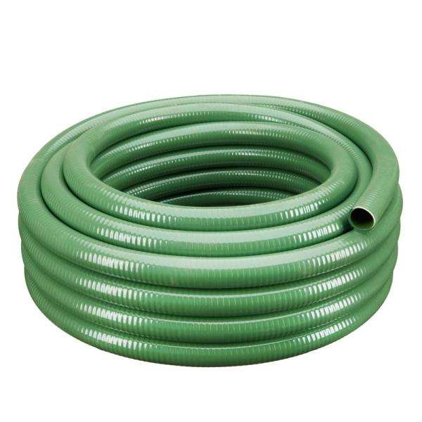 2 in. Dia x 50 ft. Green Heavy-Duty Flexible PVC Suction and Discharge Hose