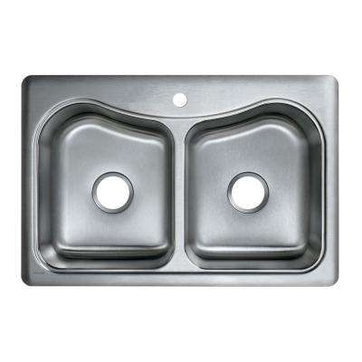 Staccato Drop-In Stainless Steel 33 in. 1-Hole Double Bowl Kitchen Sink