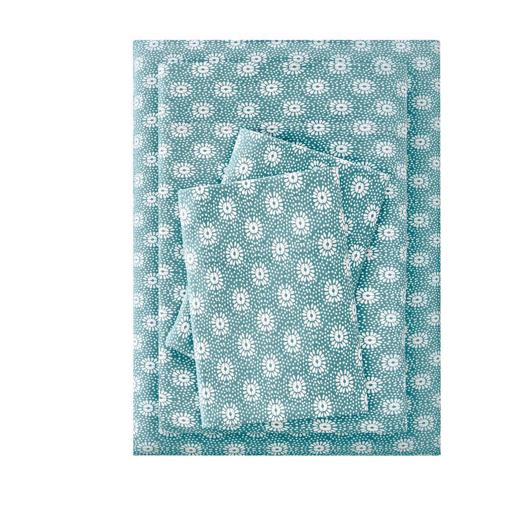 StyleWell Jersey 3-Piece Twin Sheet Set in Aloe Sunflower CN52TSHTSESUNFL
