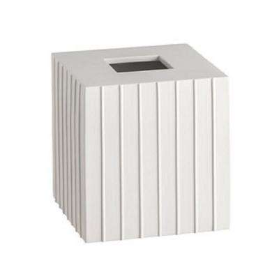 Platform Tissue Box Cover in White