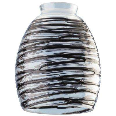 5-3/4 in. Handblown Clear with Black Rope Shade with 2-1/4 in. Fitter and 4-5/8 in. Width