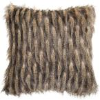 Faux Pheasant Taupe and Charcoal Solid Faux Fur Down Alternative 20 in. x 20 in. Throw Pillow