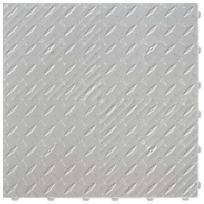 15.75 in. x 15.75 in. Pearl Silver Diamond Trax 9-Tile Modular Flooring Pack (15.5 sq. ft./case)