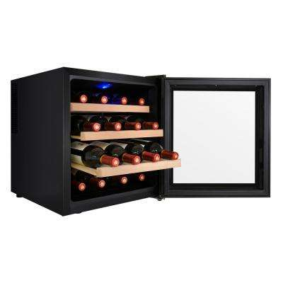 16-Bottle Single Zone Thermoelectric Wine Cooler in Black with Wooden Shelves