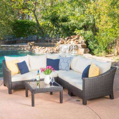 Antibes Multi Brown 6-Piece Wicker Outdoor Sectional Set with Beige Cushions