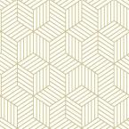 RoomMates 28.18 sq. ft. Striped Hexagon White/Gold Peel and Stick Wallpaper