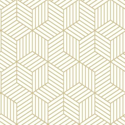 28.18 sq. ft. Striped Hexagon White/Gold Peel and Stick Wallpaper