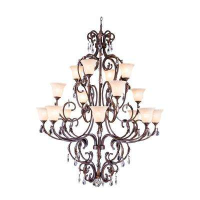 Troy 16-Light Gilded Umber Chandelier with Clear Crystal