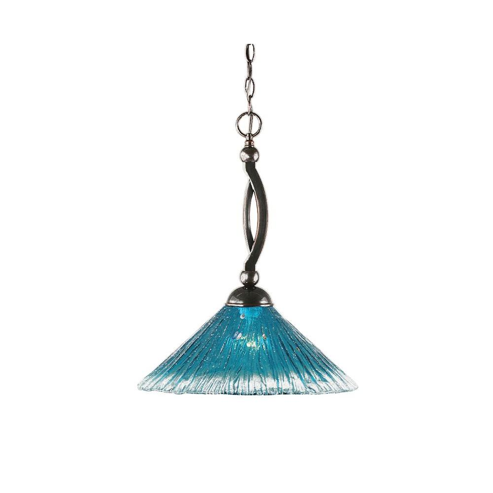 1-Light Black Copper Pendant with Teal Crystal Glass
