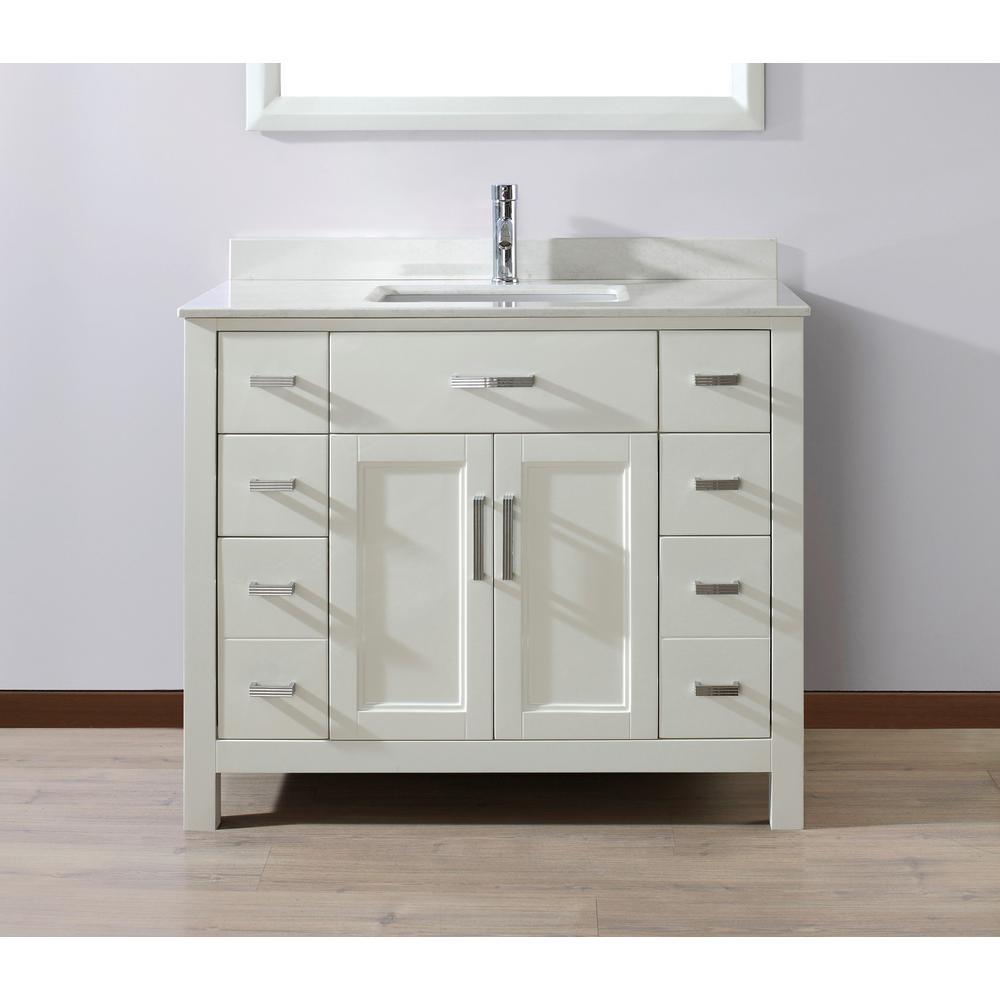 Studio Bathe Kelly 42 in. Vanity in White with Solid Surface Vanity Top