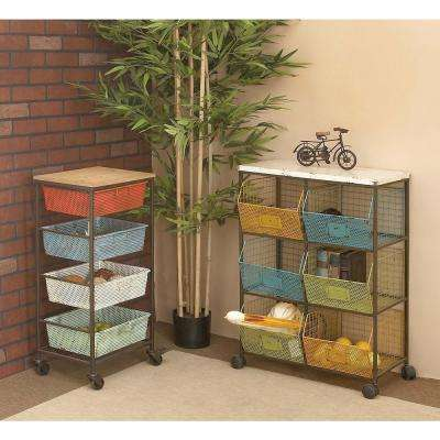 32 in. x 16 in. Rustic Wood and Iron Storage Cart with Colored Iron Mesh Trays