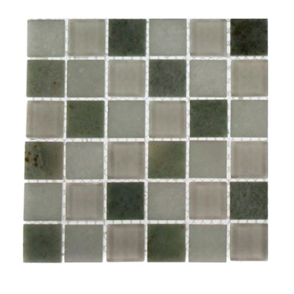 Splashback Tile Contempo Ming White Marble and Glass Mosaic Floor and Wall Tile - 3 in. x 6 in. x 8 mm Tile Sample