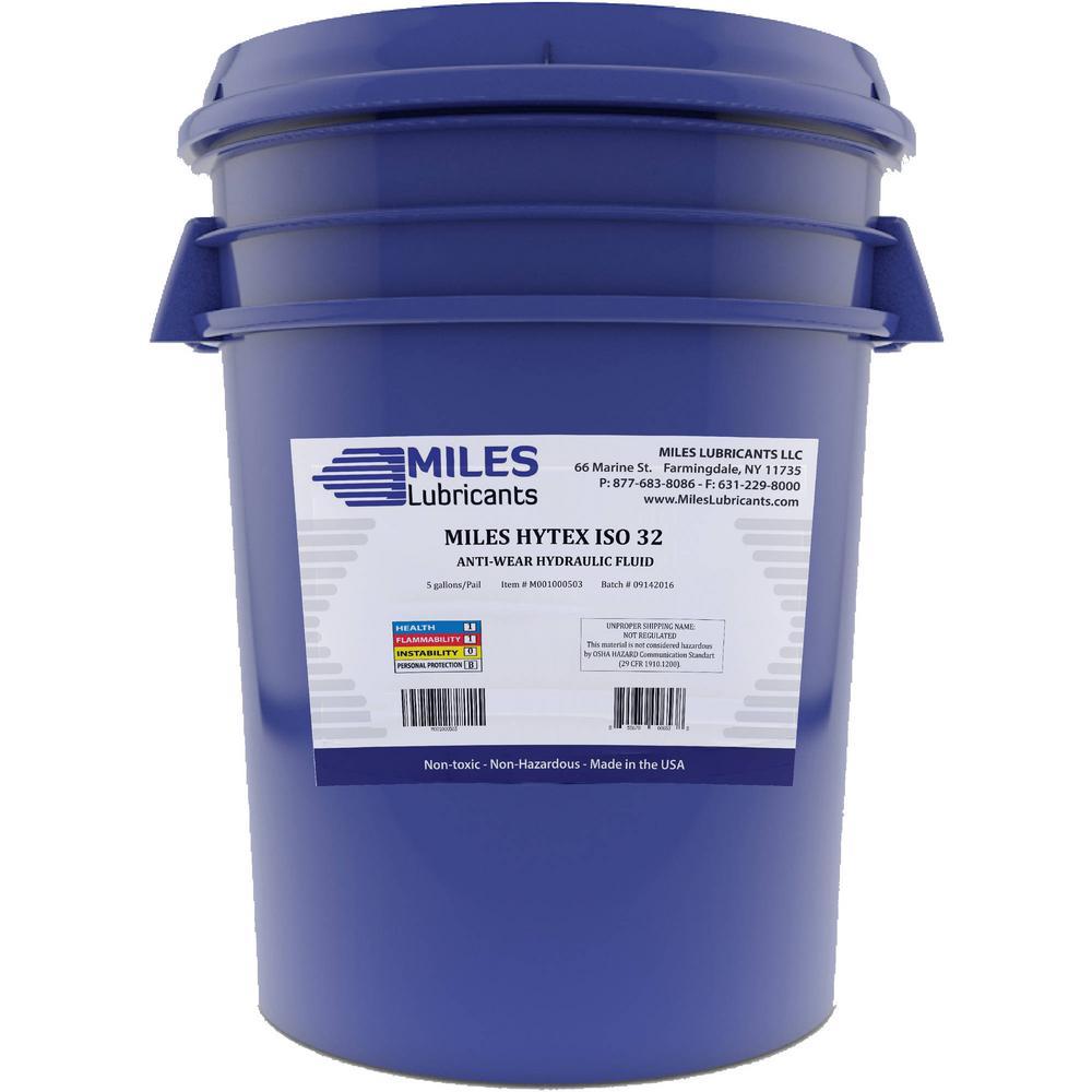 Miles Lubricants Hytex 5 Gal  ISO 32 Anti-Wear Hydraulic Fluid Pail