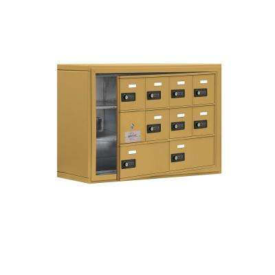 19100 Series 30.5 in. W x 20 in. H x 9.25 in. D 9 Doors Cell Phone Locker Surface Mount Resettable Lock in Gold