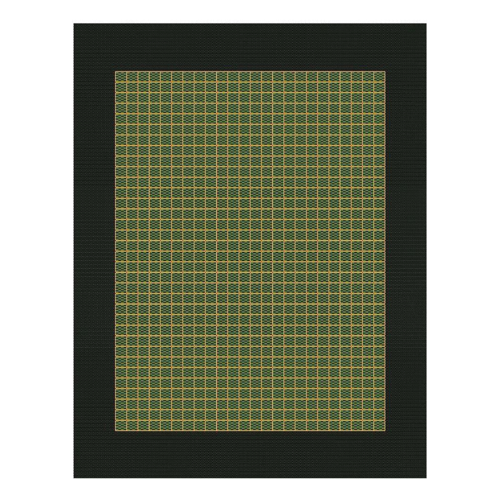 Home Decorators Collection Checkered Field Green and Black 5 ft. 10 in. x 9 ft. 2 in. Area Rug