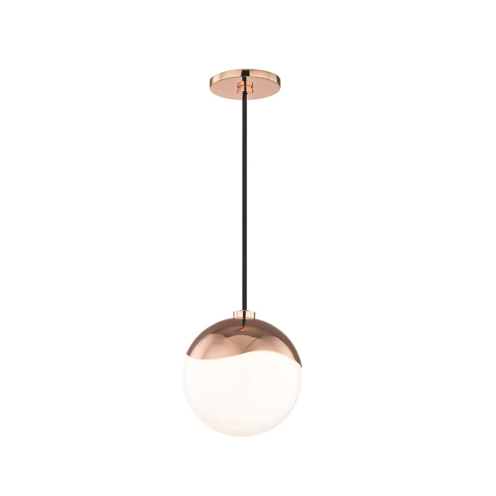 Ella 1-Light Polished Copper Small Pendant with Opal Glossy Glass