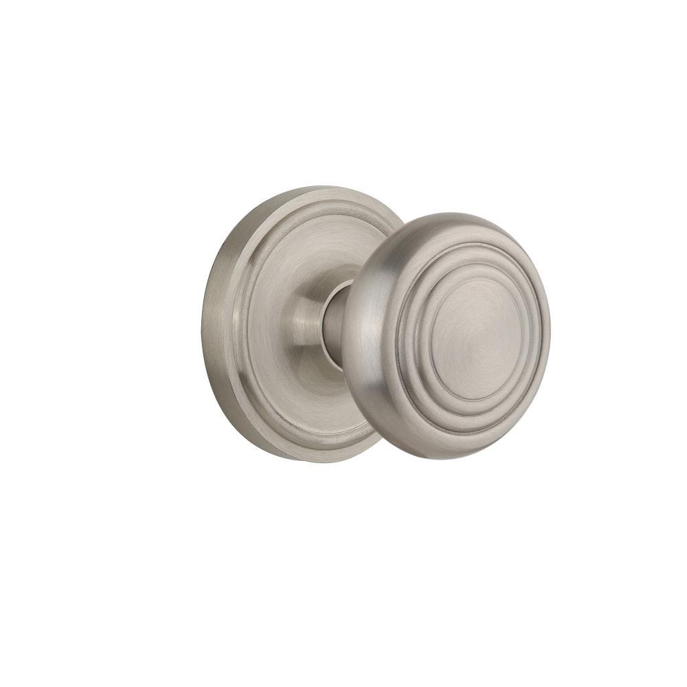 Classic Rosette Double Dummy Deco Door Knob in Satin Nickel