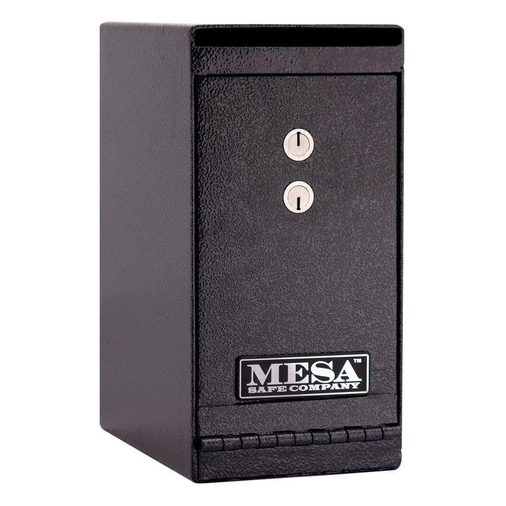 MESA 0.2 cu. ft. All Steel Undercounter Depository Safe with Dual Key Lock in Hammered Grey