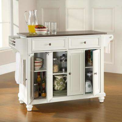 Cambridge White Kitchen Island with Stainless Steel Top