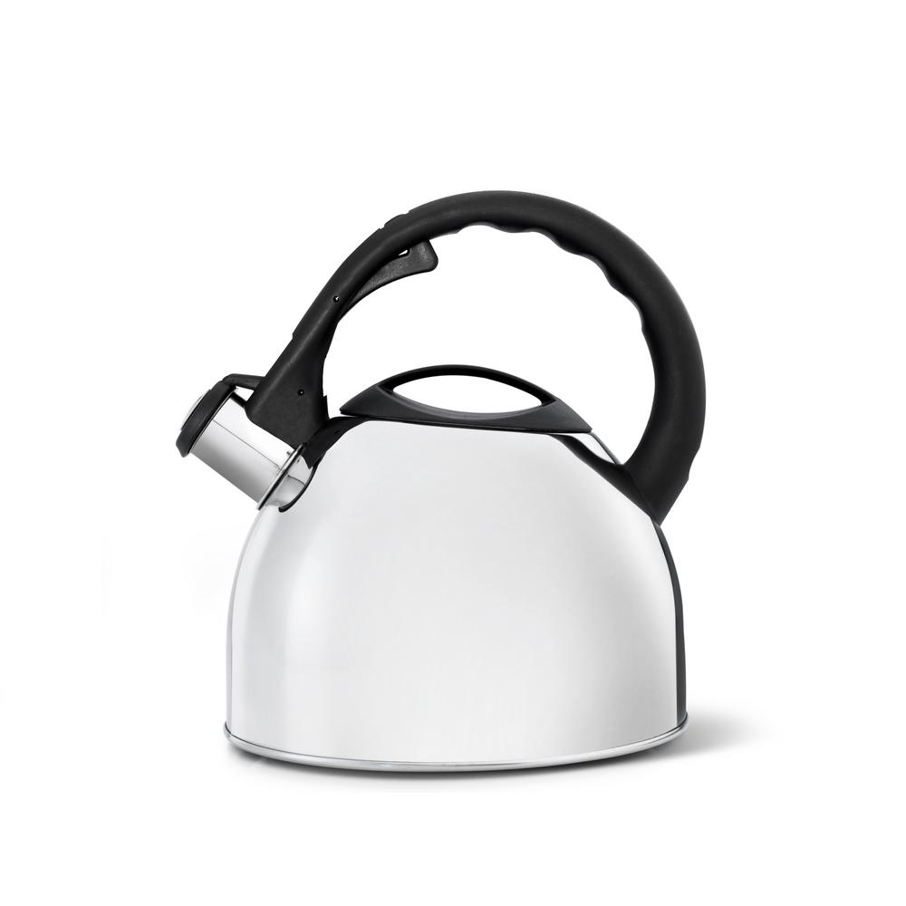 85 fl. oz. Polished Teakettle, Polished Steel 2.6 Qt. Polished Stainless-Steel Teakettle. This whistling tea kettle can be used on gas, electric, ceramic and induction. Removable lid for easy filling. Color: Polished Steel.