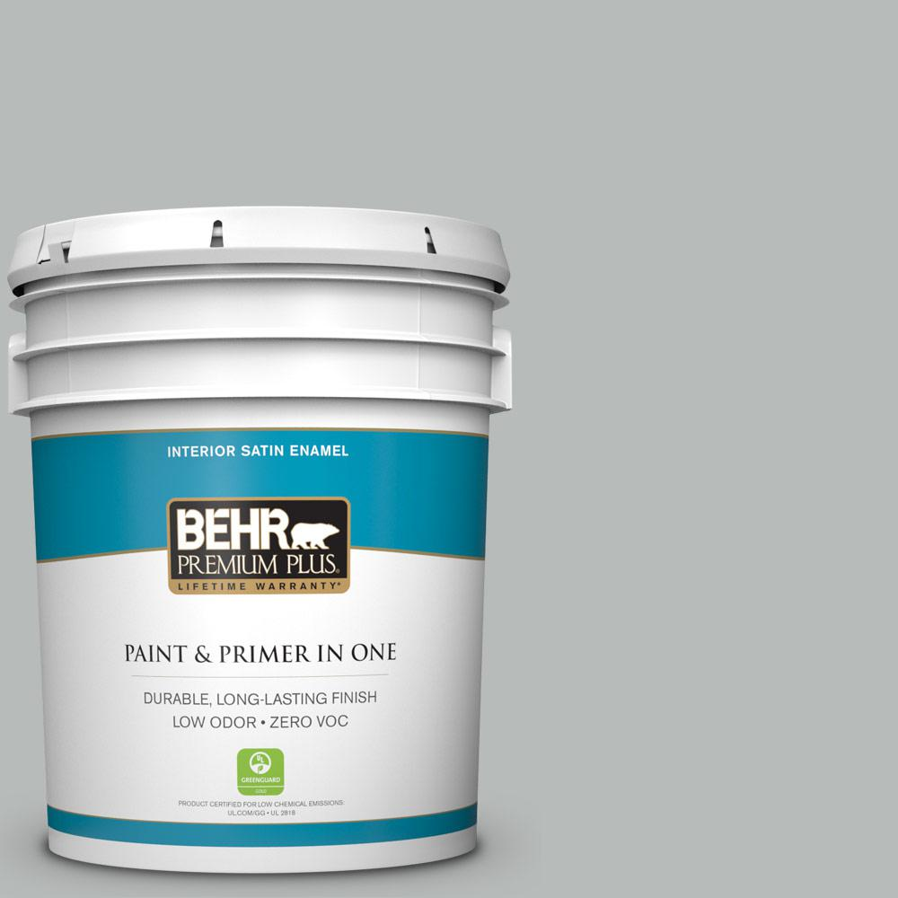 5 gal. #T18-19 Quiet Time Zero VOC Satin Enamel Interior Paint