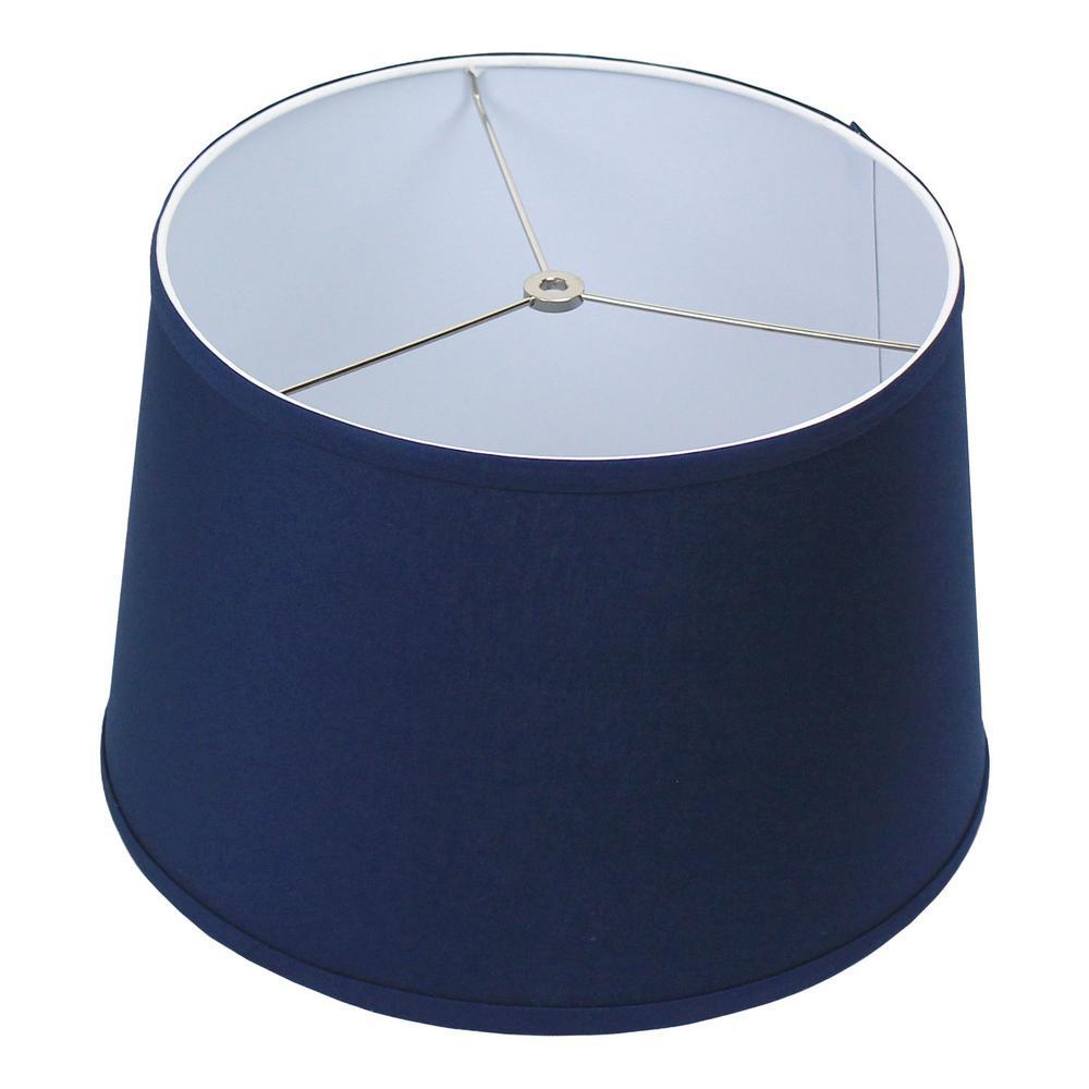 Fenchel Shades 13 in. Top Diameter x 15 in. Bottom Diameter x 10 in. Slant,  Empire Lamp Shade - Linen Navy Blue