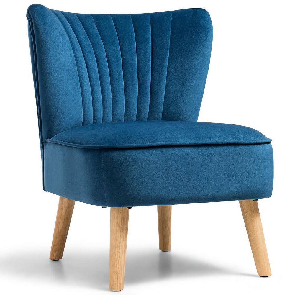 Modern Accent Armless Chair Modern Velvet Fabric Leisure Chair in Blue