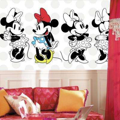 72 in. x 126 in. Minnie Rocks the Dots XL Chair Rail 7-Panel Pre-Pasted Wall Mural