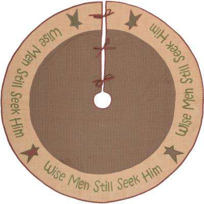 60 in. Wise Men Evergreen Green Rustic Christmas Decor Tree Skirt