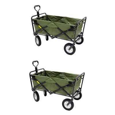 Collapsible Folding Steel Frame Garden Utility Wagon Cart (2-Pack)